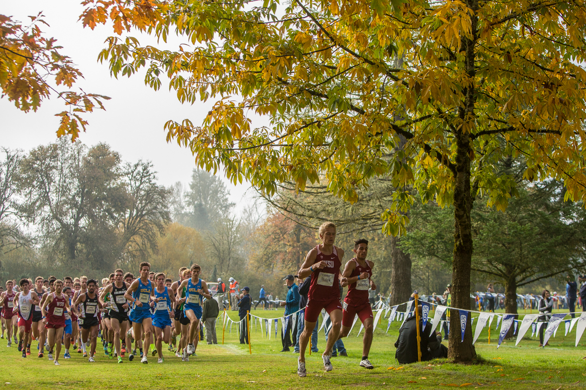 The Oregon cross-country team hosted the 2017 Pac-12 Championships Friday morning. Stanford took home the win on the men's side and Colorado took home the team title on the women's side. Oregon placed 2nd on the women's side and 4th on the men's side. Photo by Dillon Vibes