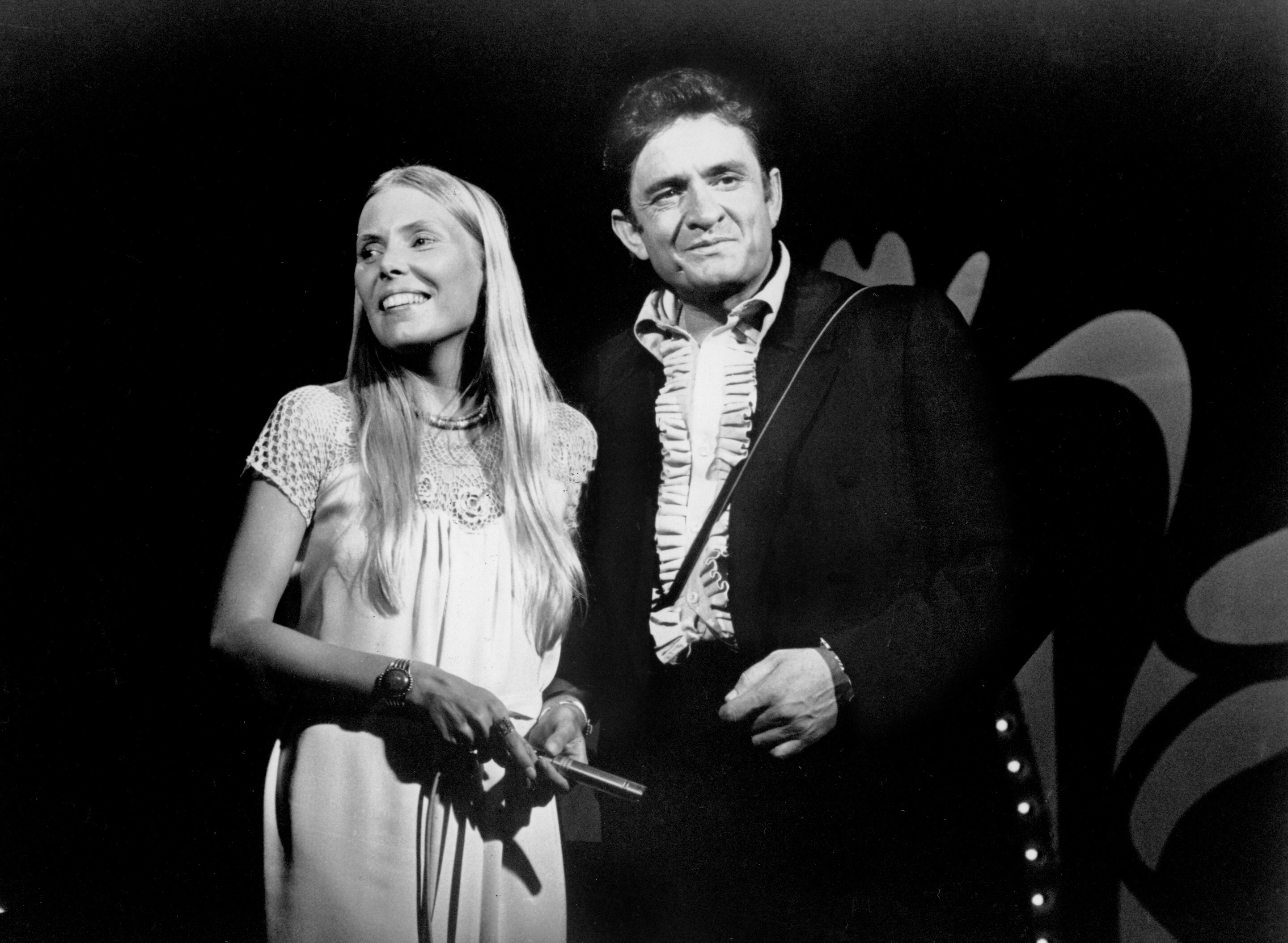 The Johnny Cash Show (ABC)  TV-Series 1969 - 1971 Shown from left: Joni Mitchell, Johnny Cash  Featuring: Joni Mitchell When: 01 Apr 2015 Credit: WENN.com  **WENN does not claim any ownership including but not limited to Copyright, License in attached material. Fees charged by WENN are for WENN's services only, do not, nor are they intended to, convey to the user any ownership of Copyright, License in material. By publishing this material you expressly agree to indemnify, to hold WENN, its directors, shareholders, employees harmless from any loss, claims, damages, demands, expenses (including legal fees), any causes of action, allegation against WENN arising out of, connected in any way with publication of the material.**