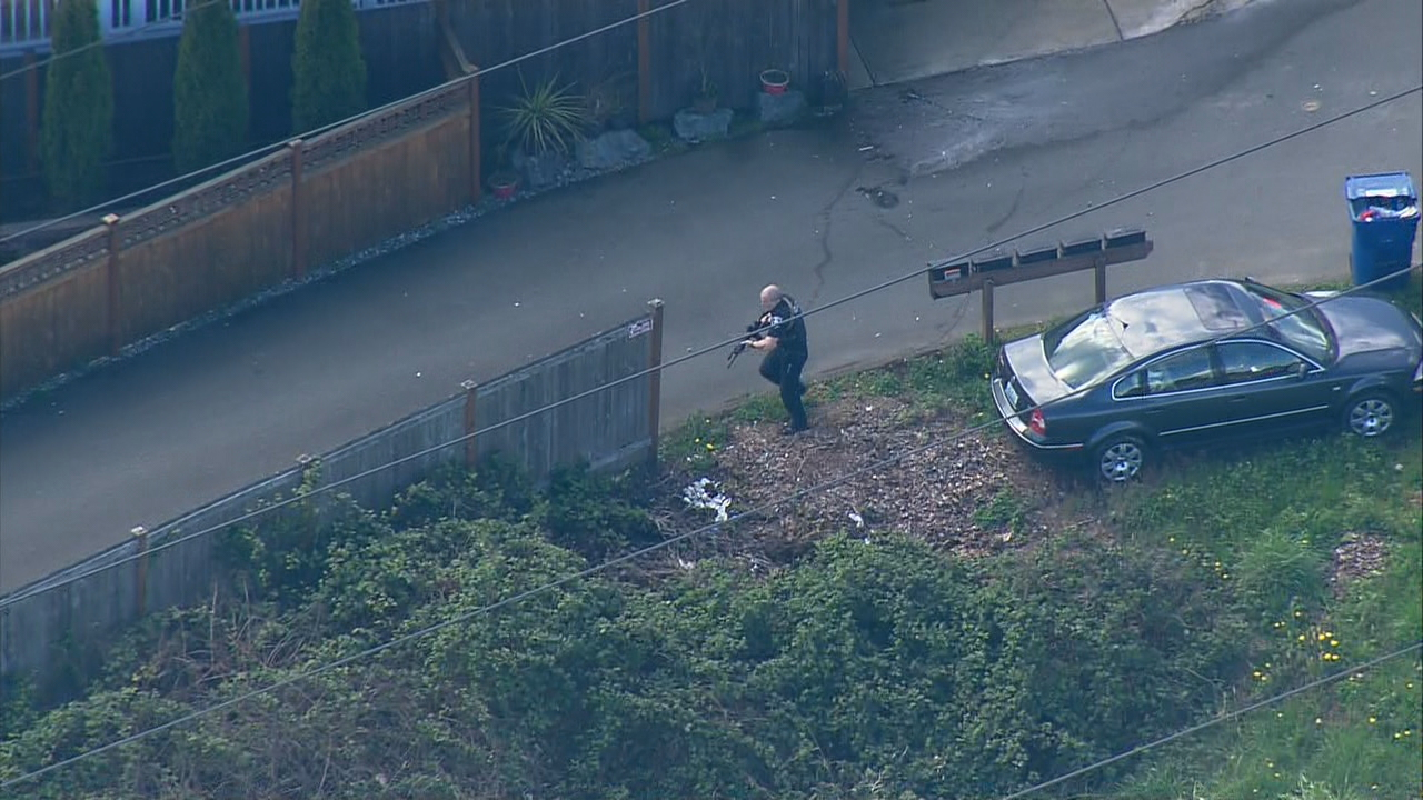 Four people suspected in a shooting in Seattle have been arrested following an intense manhunt in the south end of the city Tuesday, April 10, 2018. (Photo: KOMO News)